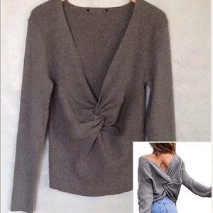 Sweaters - Plus size Crisscross Reversible Grey Sweater